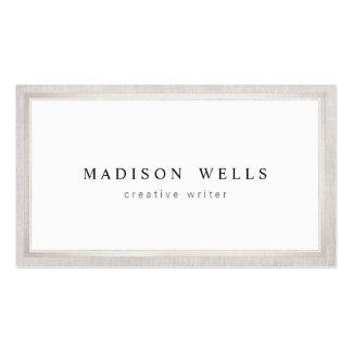 Elegant Professsional White with Silver Border Pack Of Standard Business Cards