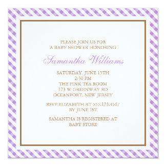 Elegant Purple Gingham Pattern Baby Shower 13 Cm X 13 Cm Square Invitation Card