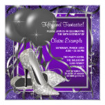 Elegant Purple High Heels Birthday Party 13 Cm X 13 Cm Square Invitation Card