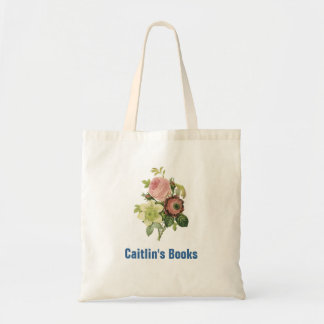 Elegant Redoute Flowers Custom Library Book Bag