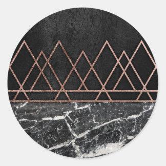 Elegant Rose Gold Triangles & Black & White Marble Round Sticker