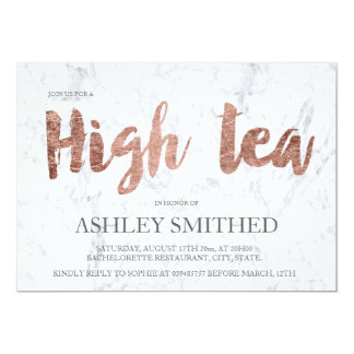 Elegant rose gold typography marble high tea party 13 cm x 18 cm invitation card