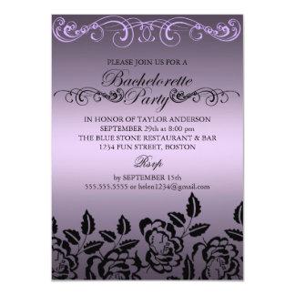 Elegant Rose Purple Bachelorette Party Invitation