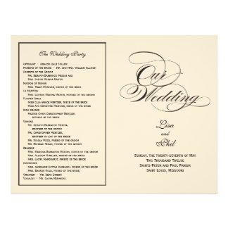 Elegant Script Wedding Program - Black & Off White 21.5 Cm X 28 Cm Flyer