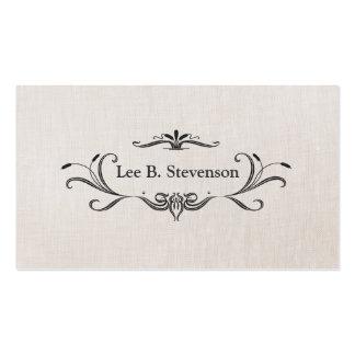 Elegant Scroll Frame Faux Linen Business Card