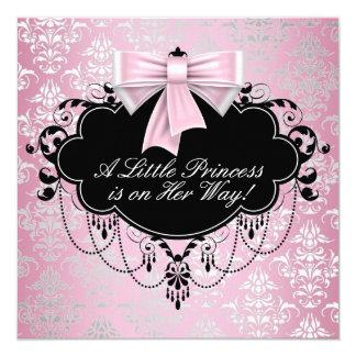 Elegant Silver Pink Black Princess Baby Shower 13 Cm X 13 Cm Square Invitation Card