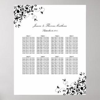 Elegant Swirls Black & White Wedding Seating Chart Poster