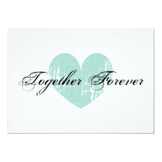 Elegant teal heart engagement party invitations