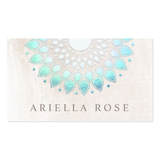 Elegant Turquoise Floral Lotus White Marble Pack Of Standard Business Cards