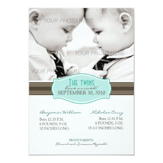 Elegant Twins Birth Announcement: Aqua Blue 13 Cm X 18 Cm Invitation Card
