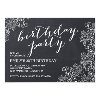 Elegant Vintage Floral Chalkboard Birthday Party 13 Cm X 18 Cm Invitation Card