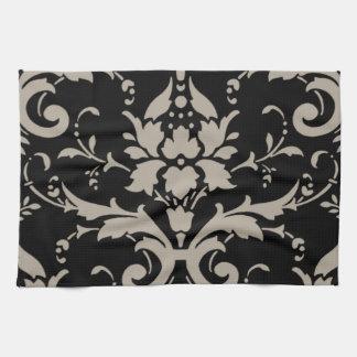 Elegant Vintage Modern Silver Damask on Black Towe Hand Towel
