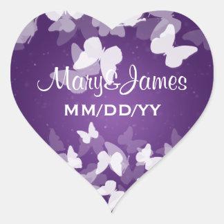 Elegant Wedding Date Elusive Butterflies Purple Heart Sticker