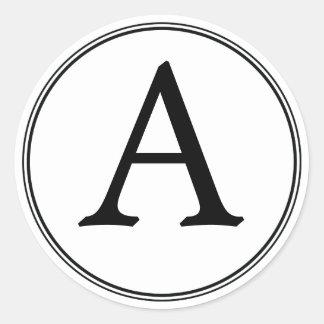 Elegant White and Black Monogram Stickers