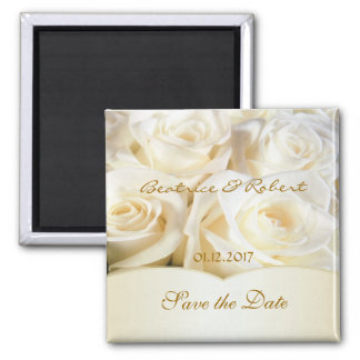 Elegant White - cream roses Save the date Square Magnet