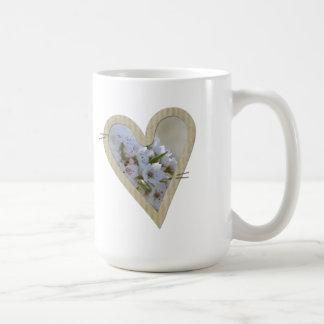Elegant White Floral Heart Basic White Mug