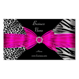 Elegant Zebra Leopard Black Hot pink Pack Of Standard Business Cards