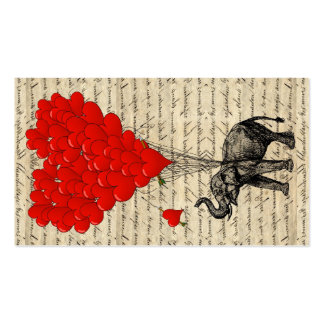 Elephant and heart shaped balloons pack of standard business cards