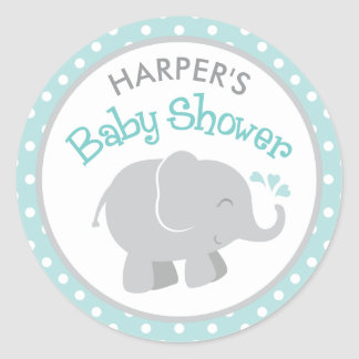 Elephant Baby Shower Stickers | Aqua and Gray