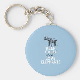 Elephant Gift Keep Calm and Love Elephants Print Basic Round Button Key Ring