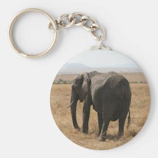 elephant grey basic round button key ring