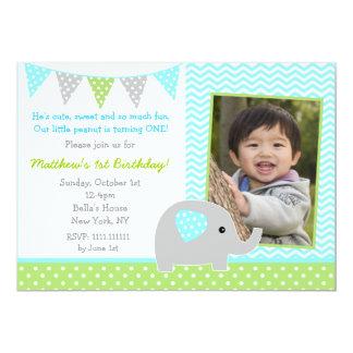 Elephant Photo Birthday Party Invitations for Boy