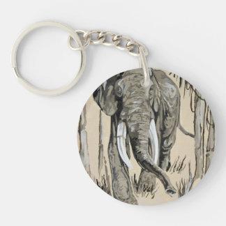 Elephant Single-Sided Round Acrylic Key Ring