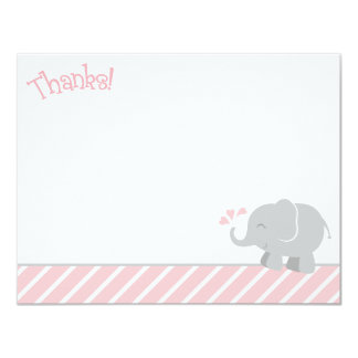 Elephant Thank You Note Cards | Pink and Gray 11 Cm X 14 Cm Invitation Card