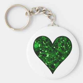 Emerald Gem Heart Basic Round Button Key Ring