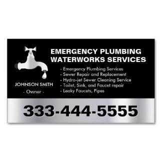 Emergency Plumbing Waterworks Service Black Metal Magnetic Business Cards