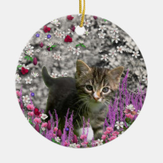 Emma in Flowers I – Little Gray Kitty Cat Round Ceramic Decoration