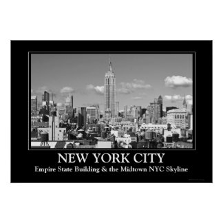 Empire State Building NYC Skyline Puffy Clouds BW Poster