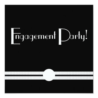 Engagement Party Art Deco Black and White Custom 13 Cm X 13 Cm Square Invitation Card