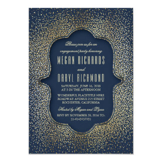 Engagement Party Vintage Gold Glitter Navy 13 Cm X 18 Cm Invitation Card