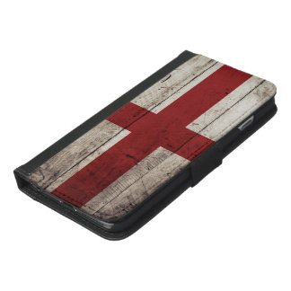 England Flag on Old Wood Grain