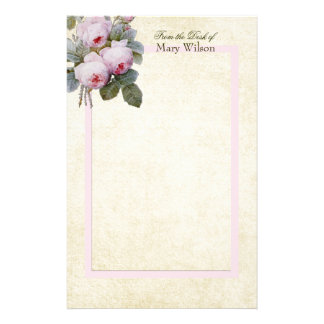 English Bourbon Roses Bouquet Custom Personalized Stationery Paper