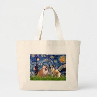 English Bulldog Pair 2 - Starry Night Jumbo Tote Bag