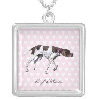 English Pointer dog necklace, gift idea Square Pendant Necklace