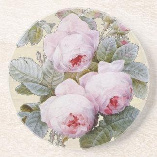 English Rose Garden Bourbon Pink Floral Drink Coaster