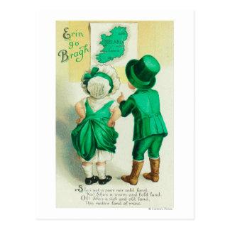 Erin Go Bragh Couple Looking at Ireland Map Postcard