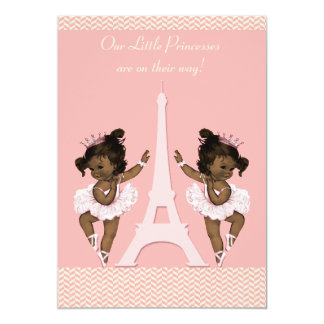Ethnic Ballerina Twins Eiffel Tower Baby Shower 13 Cm X 18 Cm Invitation Card