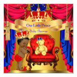 Ethnic Prince Baby Shower Gold Bear Red Blue 13 Cm X 13 Cm Square Invitation Card