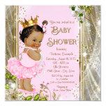 Ethnic Princess Tutu Pink Gold Baby Shower 13 Cm X 13 Cm Square Invitation Card