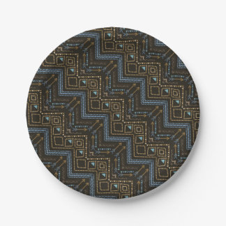 Ethnic seamless tribal boho pattern 7 inch paper plate
