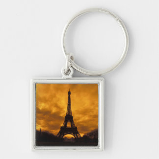 EU, France, Paris.  Eiffel Tower. Silver-Colored Square Key Ring