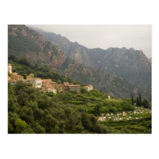 Europe, France, Corsica, Ota.  Town of Ota and Postcard