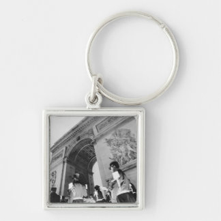 Europe, France, Paris. Military ceremony at the Silver-Colored Square Key Ring