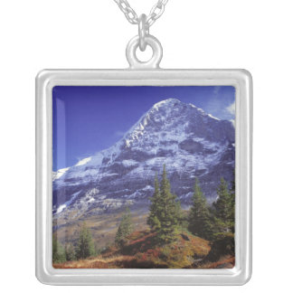 Europe, Switzerland, Eiger. Fall colors abound Square Pendant Necklace