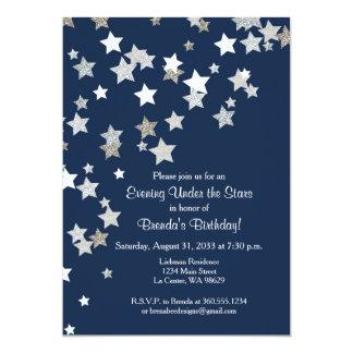 Evening Under the Stars with Silver Glitter 13 Cm X 18 Cm Invitation Card