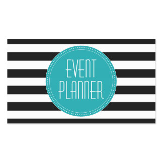 Event Planne Black and White Stripes Business Card